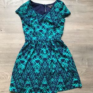 Lily Rose Tribal Print Turquoise Blue Dress